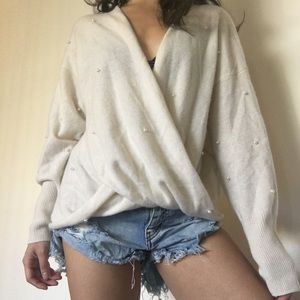 100% Cashmere Pearl-Embellished Backless Sweater